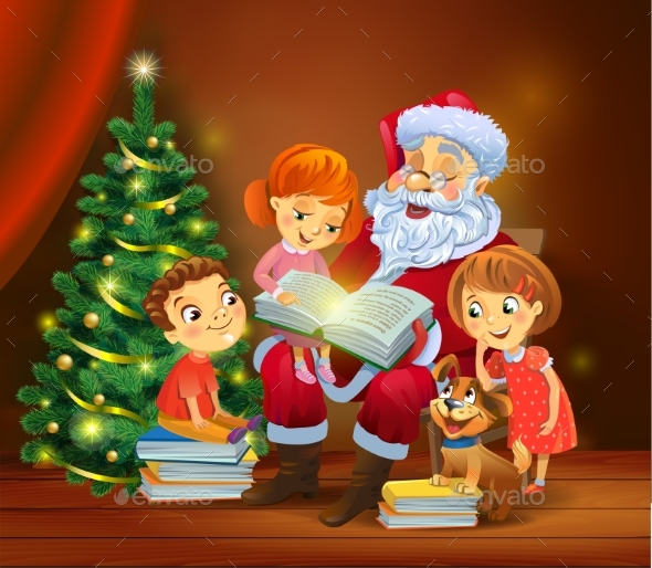 GraphicRiver Santa Claus Reading the Book To Children 20963800