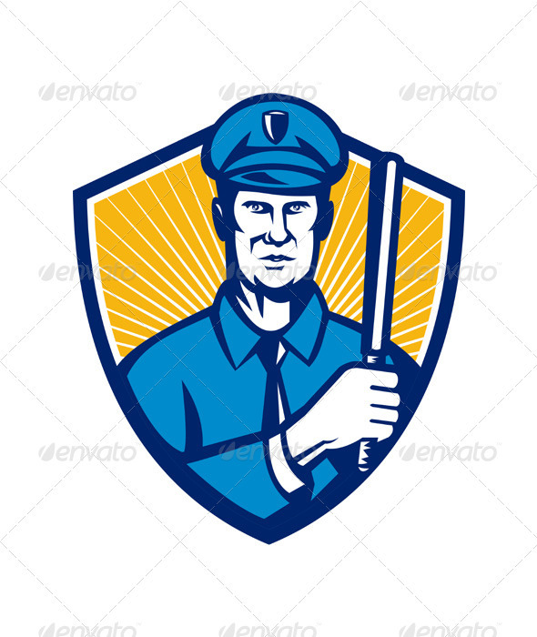 Policeman Police Officer Baton Shield Retro - People Characters