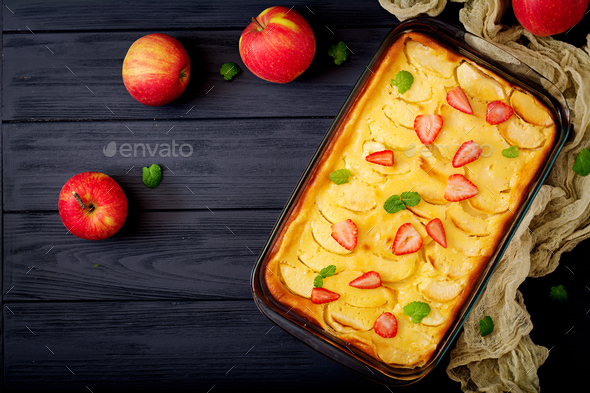 Appetizing cottage cheese casserole with apples - Stock Photo - Images
