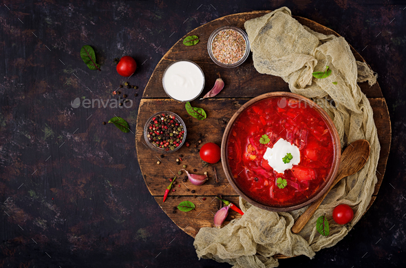 Traditional Ukrainian Russian borscht with white beans on the  bowl. - Stock Photo - Images