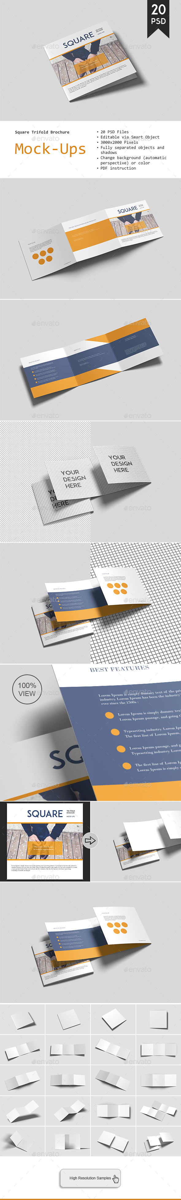 GraphicRiver Square Trifold Brochure Mockup 20964215