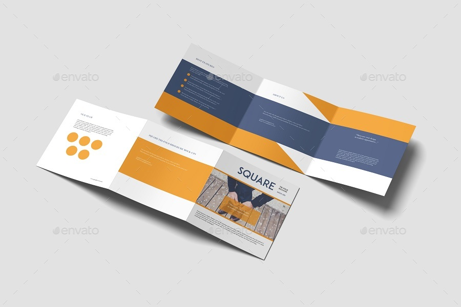 square trifold brochure mockup by graphiccrew graphicriver