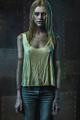 Blonde zombie woman on dark background