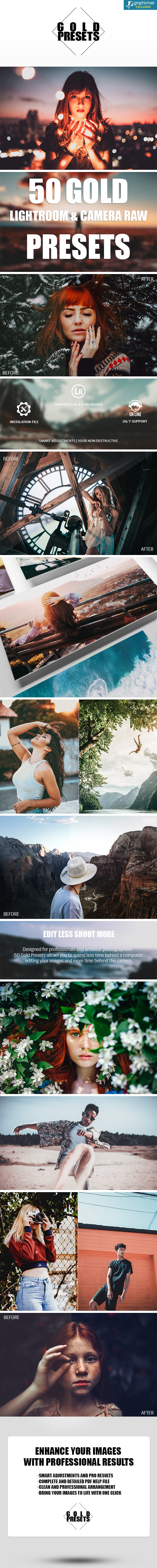 GraphicRiver 50 Gold Lightroom & Camera Raw Presets 20937900