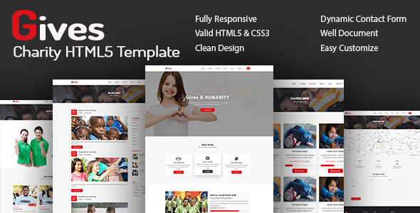 ThemeForest Gives Nonprofit Crowdfunding & Charity HTML5 Template 20964820