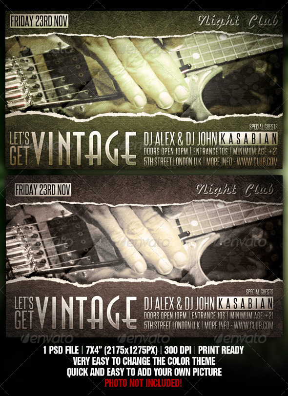 Vintage Flyer Design - Clubs & Parties Events