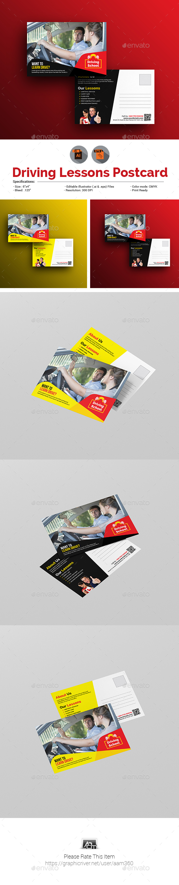 GraphicRiver Driving School Postcard Template 20965660