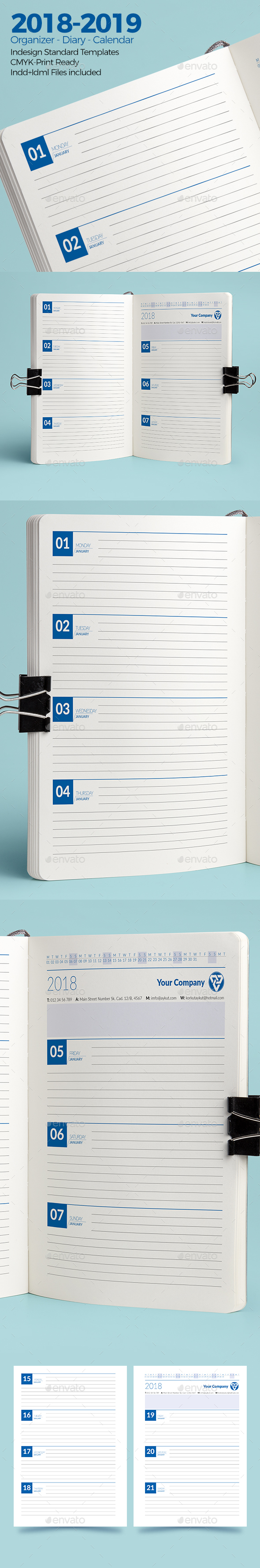 GraphicRiver Weekly Diary Planner 2018-2019 20965785