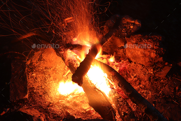 Camp fire - fie and flames - long exposure - Stock Photo - Images