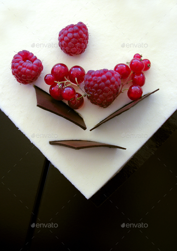 Gooseberies and raspberries - Stock Photo - Images