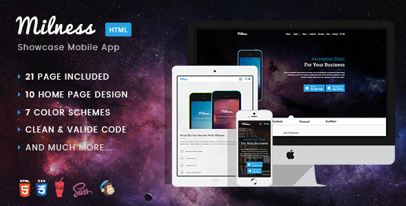 Download Milness - Showcase Mobile App HTML Template            nulled nulled version