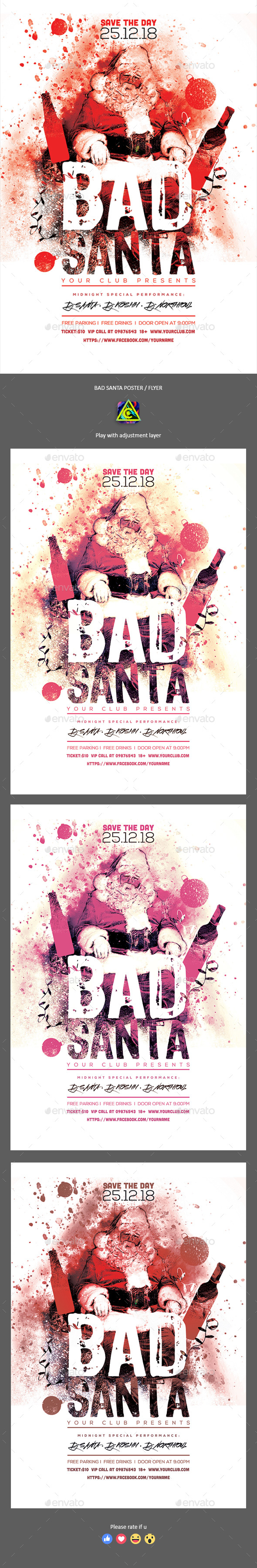 Bad Santa Poster / Flyer - Clubs & Parties Events