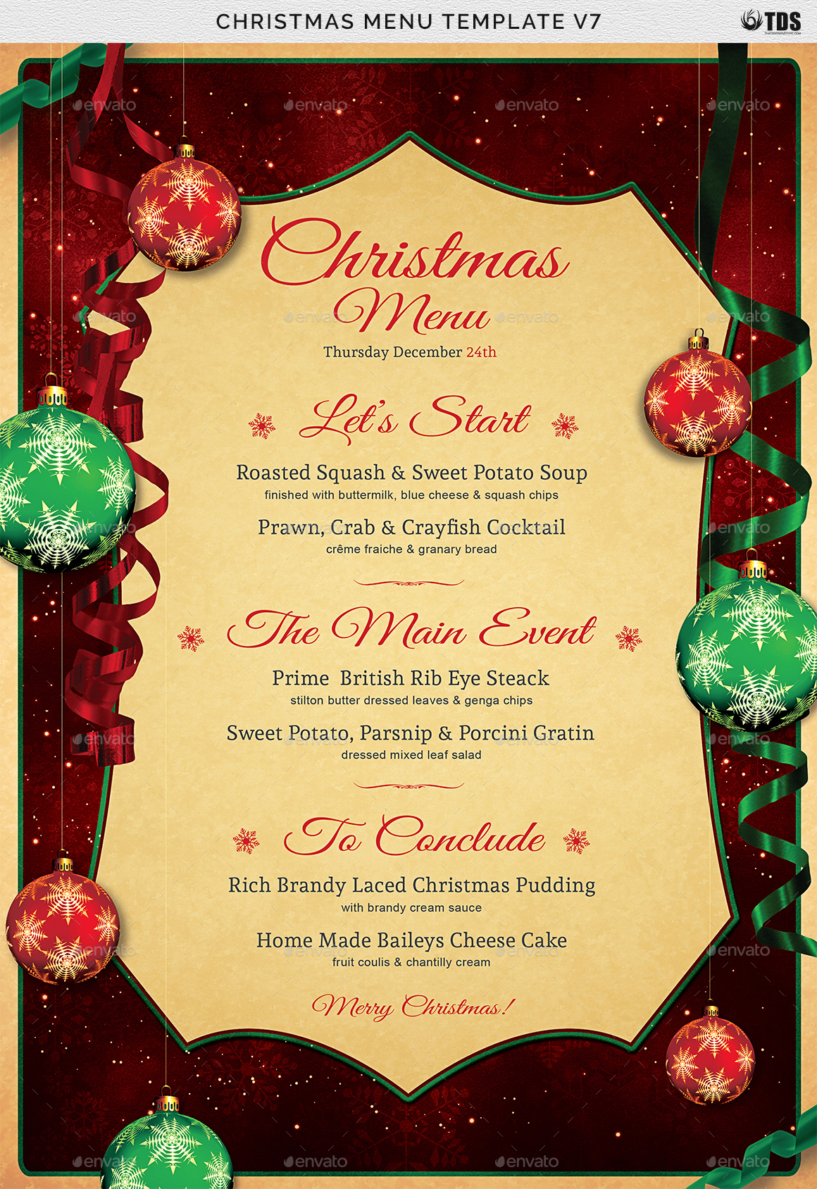 christmas menu card template