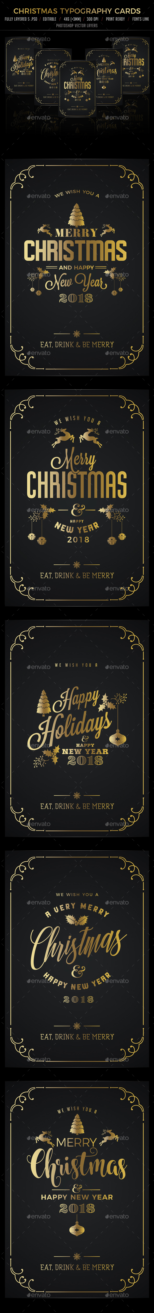 Christmas Typography Cards/Invitation - Cards & Invites Print Templates