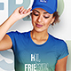 Female T-Shirt and Baseball Cap Mockup
