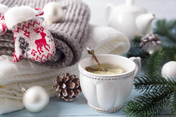 A cup of tea for the new year. - Stock Photo - Images