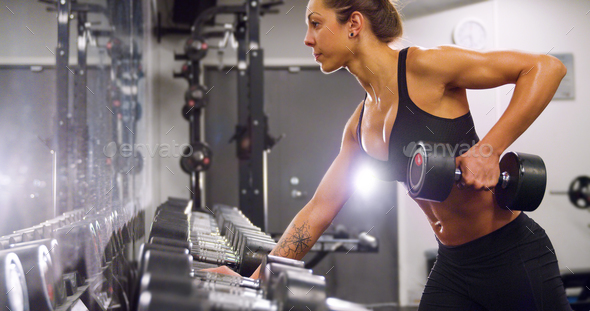 Dedicated woman training and lifting weights in fitness gym - Stock Photo - Images
