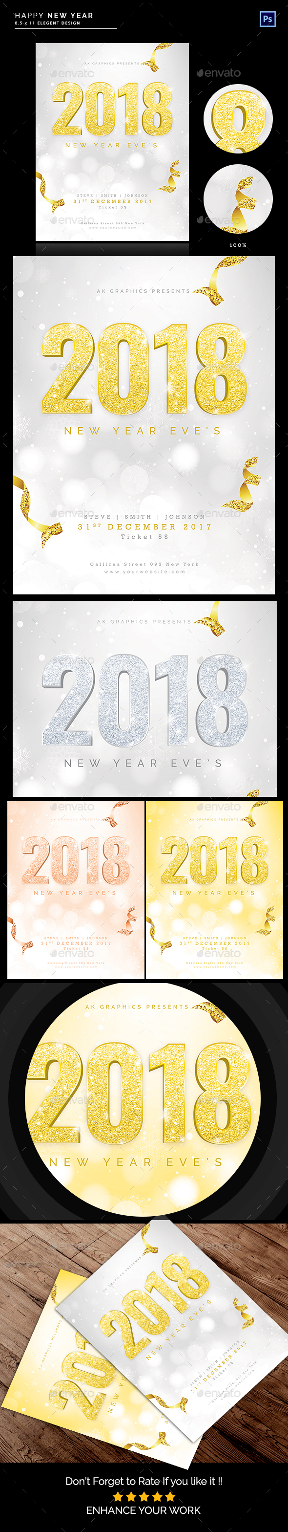 GraphicRiver Happy New Year Flyer 2018 Vol 2 20967408