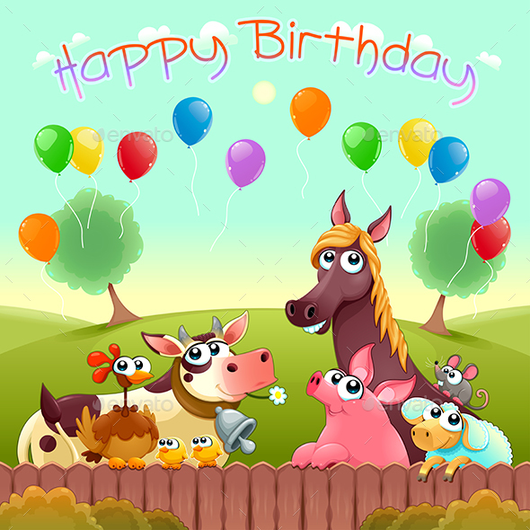 GraphicRiver Happy Birthday Card with Farm Animals in the Countryside 20967439