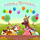 Happy Birthday Card with Farm Animals in the Countryside - GraphicRiver Item for Sale