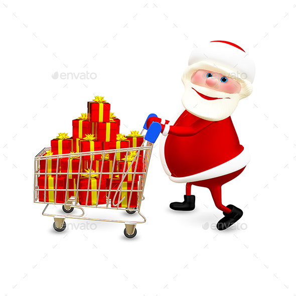 GraphicRiver 3D Illustration Santa with the Trolley with Gifts 20967479