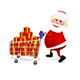 3D  Illustration Santa with the Trolley with Gifts