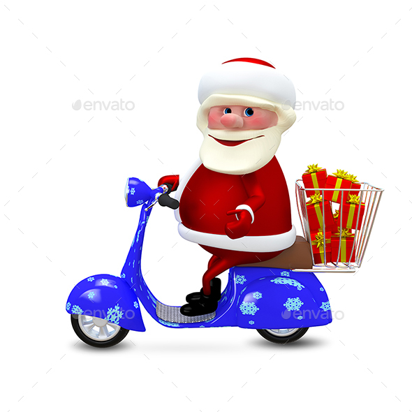 GraphicRiver 3D Illustration Santa on the Scooter with Gifts 20967496