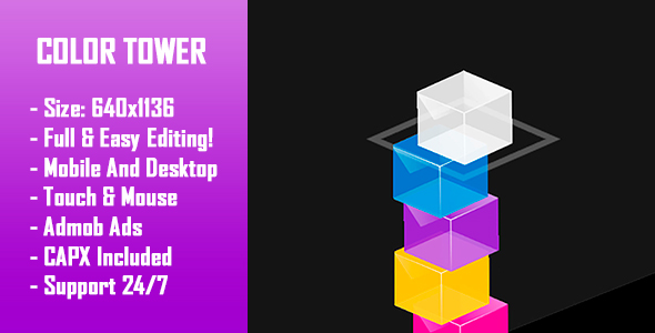 Color Tower - HTML5 Game + Mobile Version! (Construct-2 CAPX) - CodeCanyon Item for Sale