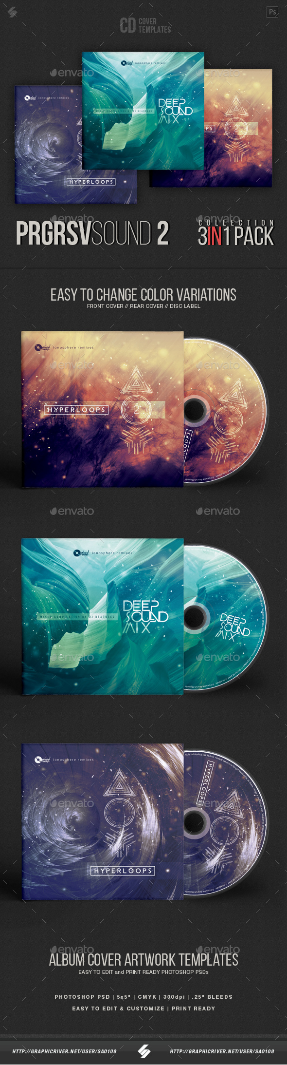GraphicRiver Progressive Sound Collection 2 CD Cover Artwork Templates Bundle 20967691
