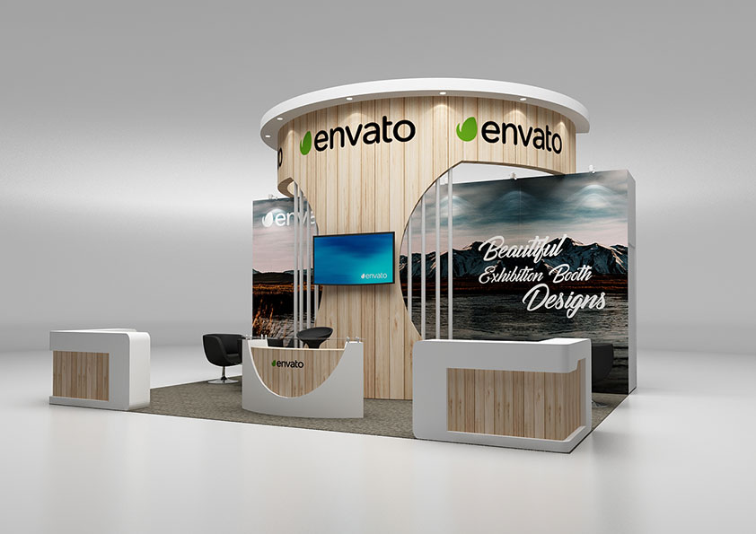 Exhibition Booth Materials : Exhibition booth perimeter 5x6 by brakster 3docean