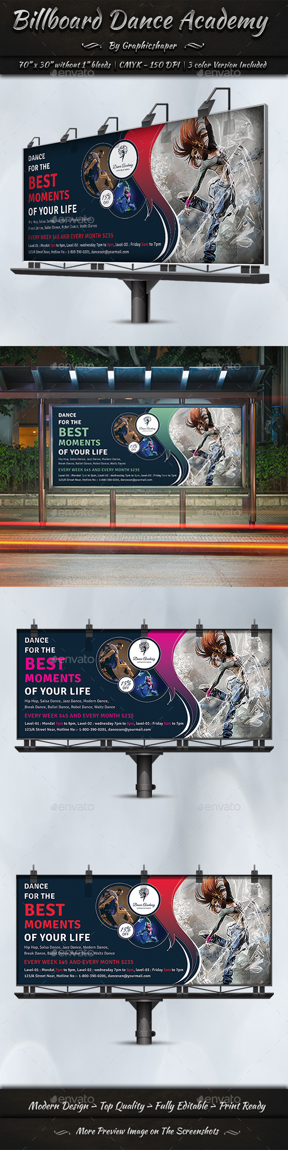 Billboard Dance Academy - Signage Print Templates