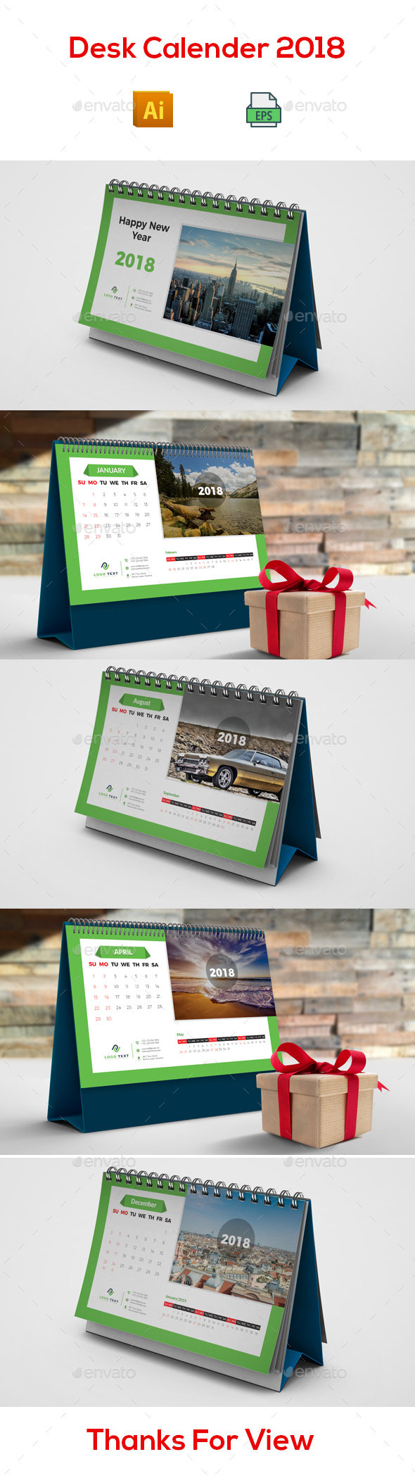 GraphicRiver Desk Calendar 2018 20968024