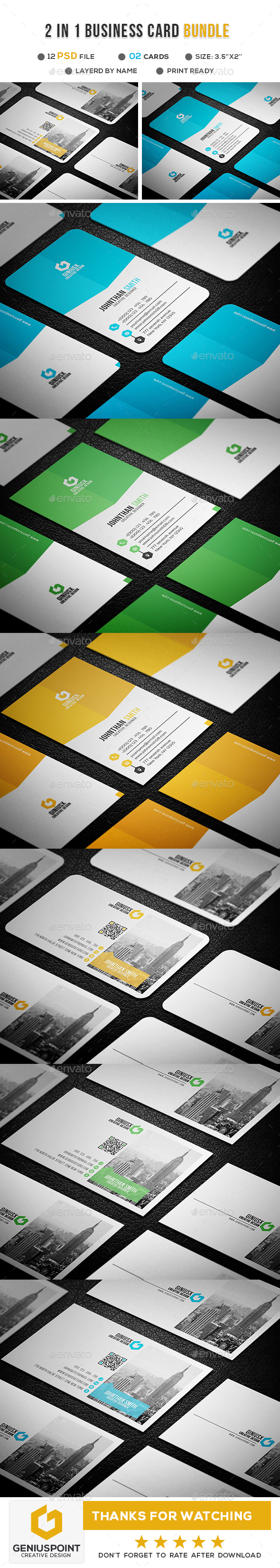 2 in 1 Business Card Bundle - Business Cards Print Templates