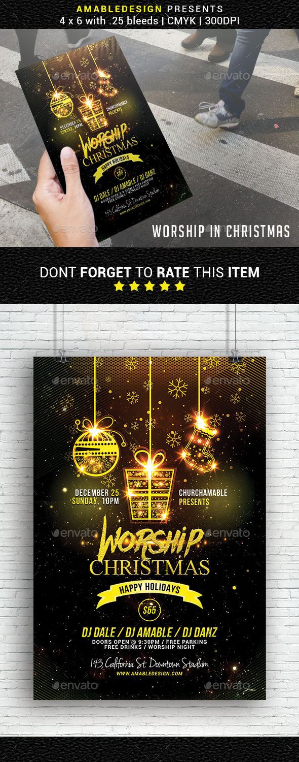GraphicRiver Worship in Christmas Church Flyer 20968266