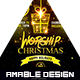 Worship in Christmas Church Flyer