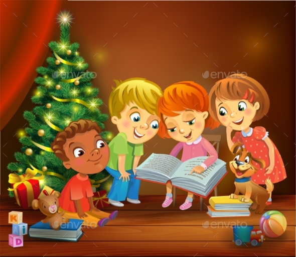 GraphicRiver Kids Reading the Book Beside a Christmas Tree 20968271