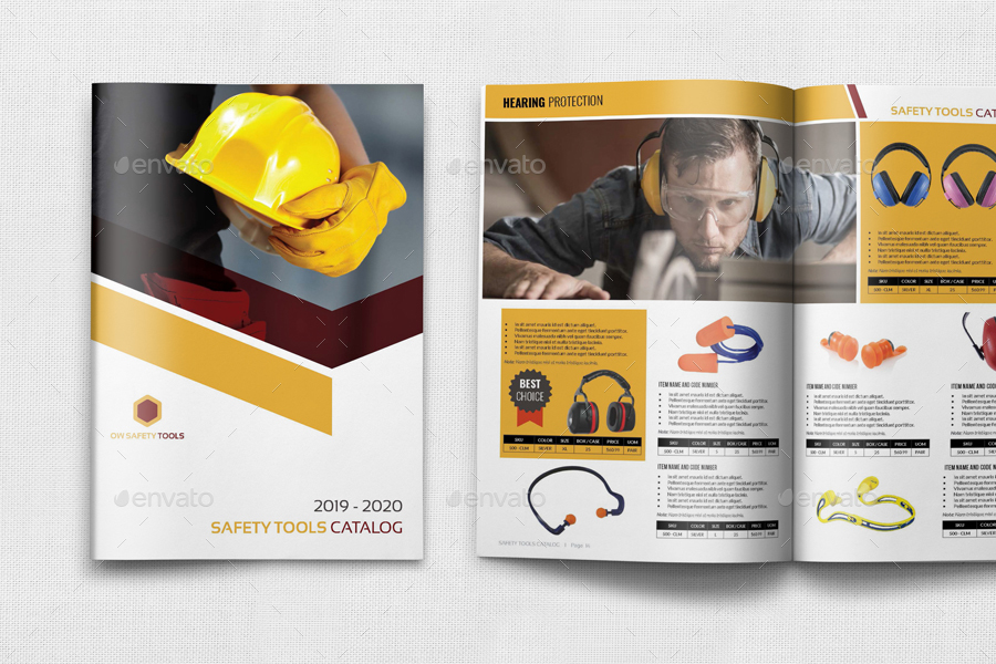 safety tools catalog brochure template 24 pages by owpictures graphicriver. Black Bedroom Furniture Sets. Home Design Ideas