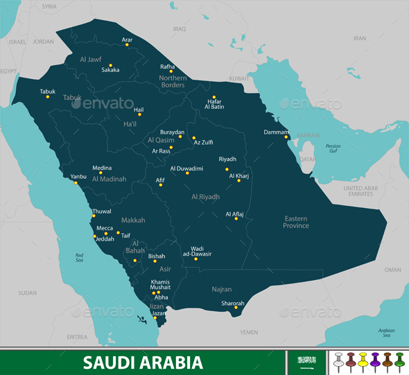 Map of Saudi Arabia - Travel Conceptual
