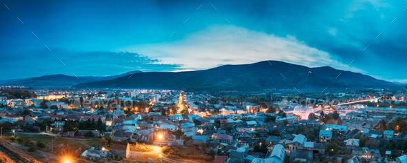 Gori, Shida Kartli Region, Georgia. Panoramic Cityscape In Eveni - Stock Photo - Images