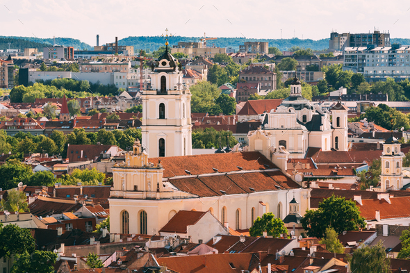 Vilnius, Lithuania. View Of Bell Tower And Church Of St. Johns, - Stock Photo - Images