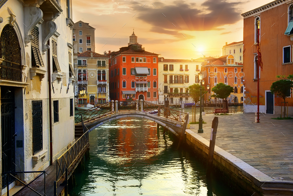 Venetian cityscape at sunrise - Stock Photo - Images
