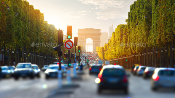 Traffic on Champs Elysee - Stock Photo - Images