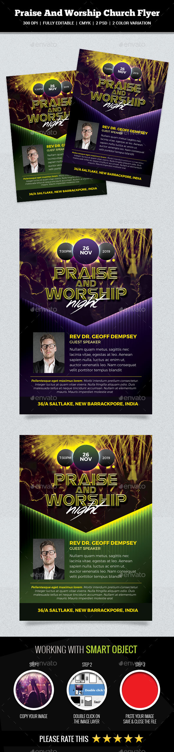 GraphicRiver Praise And Worship Night Church Flyer 20968683