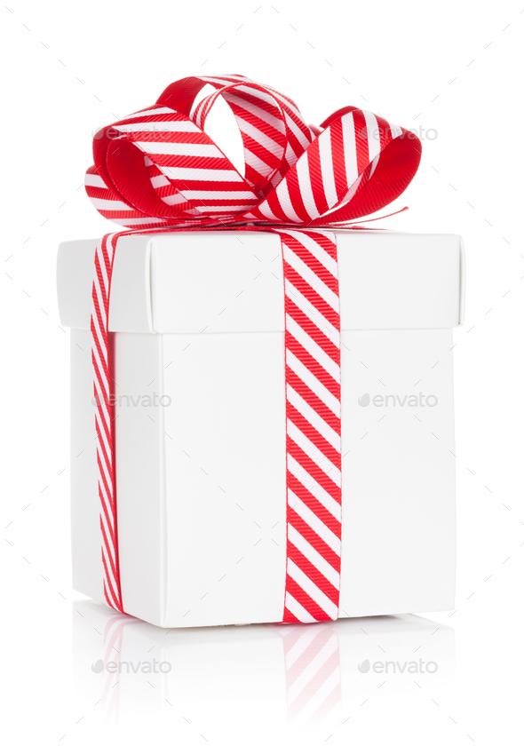Christmas gift box. Isolated - Stock Photo - Images