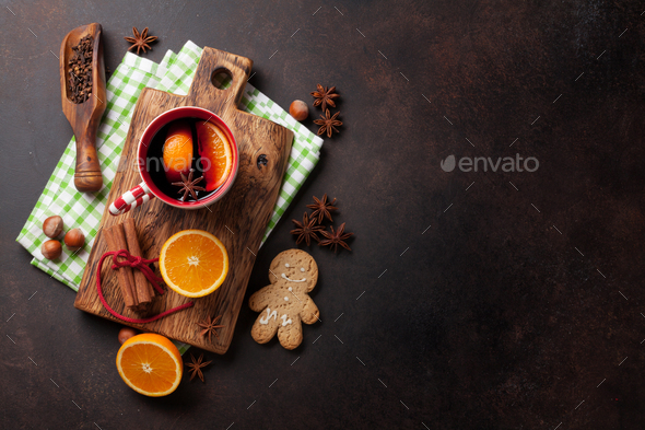 Christmas mulled wine and ingredients - Stock Photo - Images
