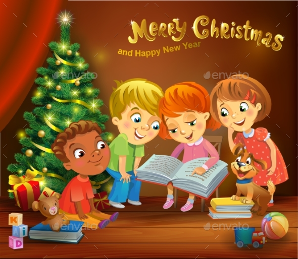 GraphicRiver Kids Reading the Book Beside a Christmas Tree 20968725