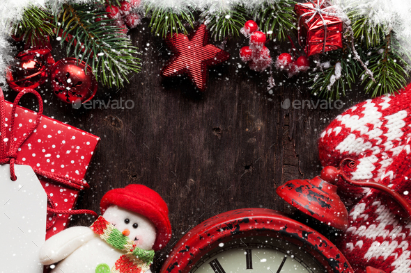 Christmas fir tree, mittens, hot chocolate - Stock Photo - Images