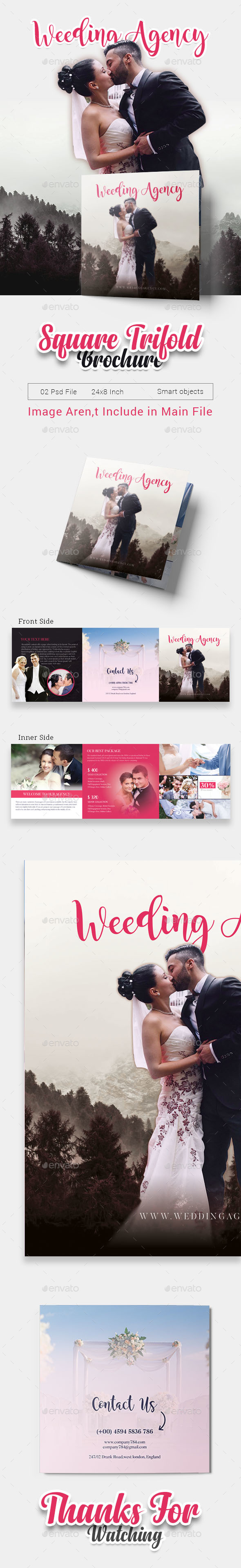 GraphicRiver Wedding Square Tri-fold Brochure 20969041