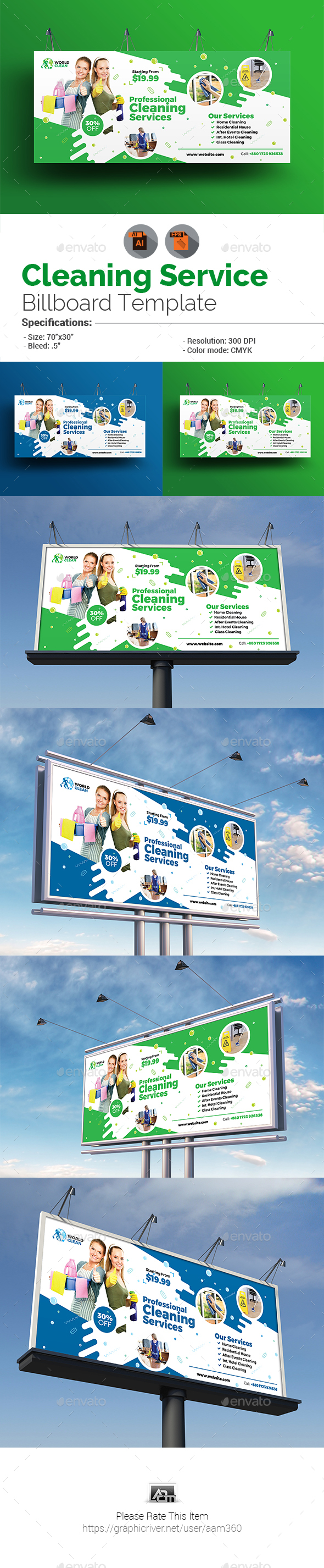 GraphicRiver Cleaning Service Billboard Template 20969178