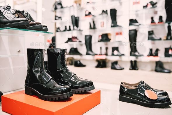 Close View Of Fashion Casual Female Black Dress Boots In Store O - Stock Photo - Images